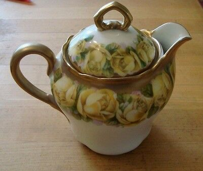 BAVARIA Hand Painted CREAMER WITH LID OR TEA POT Yellow Roses with Gold Trim