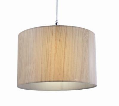 Wood Effect Drum Lampshade Ceiling Pendant Cylinder Light Shade