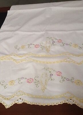 Vintage Pillowcases Expertly Embroidered Bird On Swag Of Asters Crocheted Hem