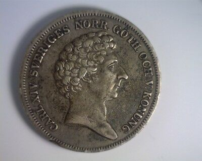 ICOIN - Sweden 1836CB Silver Riksdaler - Choice Very Fine - Original Surfaces