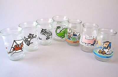 Lot Of 7 Vintage Juice Drinking Glasses Welch's Jelly Jars Tom & Jerry Peanuts