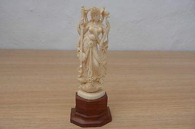Top Quality Antique Carved And Pierced Figure On Wood Base.