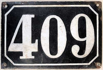 Large old black French house number 409 door gate plate plaque enamel metal sign