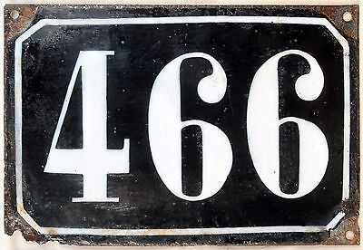 Large old black French house number 466 door gate plate plaque enamel metal sign