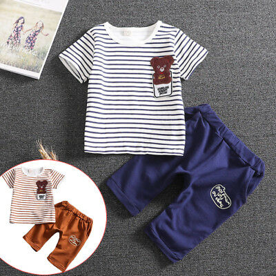 Summer Kids Infant Baby Boy Girl T-Shirt Tops+Beach Shorts Pants Outfit 2PCS/Set