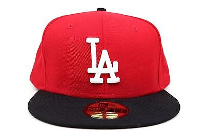 2bad1ad550e11 Los Angeles Dodgers Scarlet Red Black White MLB New Era 59Fifty Fitted Hat  Cap