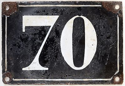 Large old black French house number 70. door gate plate plaque enamel metal sign