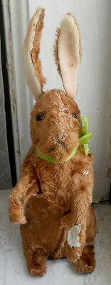 Old Mechanical Stuffed Mohair Easter Bunny RABBIT Germany As-Is