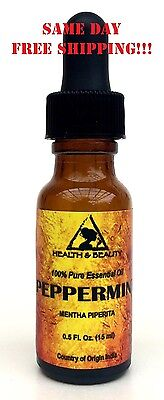 PEPPERMINT ESSENTIAL OIL AROMATHERAPY NATURAL 100% PURE GLASS DROP 0.5 OZ, 15 ml