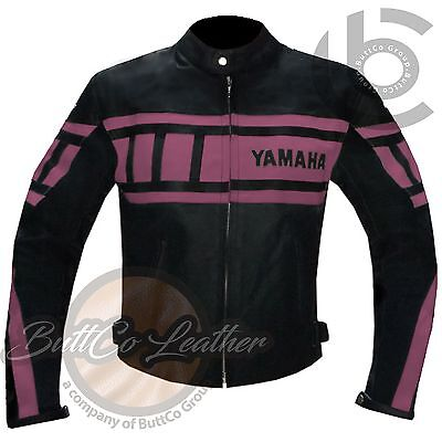 WOMENS LEATHER JACKETS Yamaha 0120 pink Motorcycle Racing Biker Motorbike Coat
