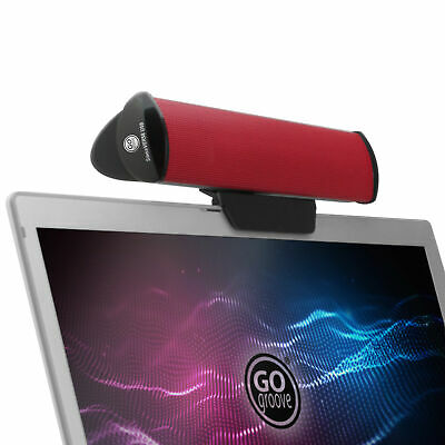 USB Laptop Speaker Bar with 2 High Excursion Drivers & Clip-On Design