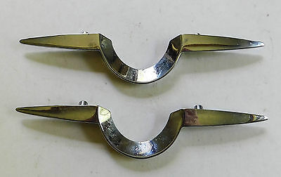 "2 Vintage Large Chrome Chevron Cabinet Drawer Pulls Handles 6 1/2"" Mid Century"