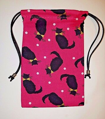 "Lined Black Cats on Pink Bag  4"" x 6""  tarot cards decks runes jewelry"