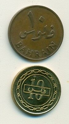2 DIFFERENT 10 FILS COINS from BAHRAIN - 1965 & 1992 (2 TYPES)