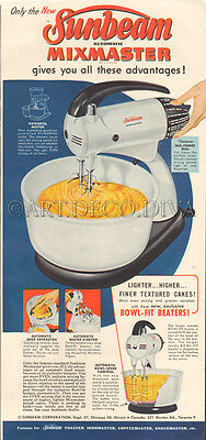 VTG 1950's Sunbeam MIXMASTER Kitchen Food Mixer Appliance RETRO Blue Cooking Ad