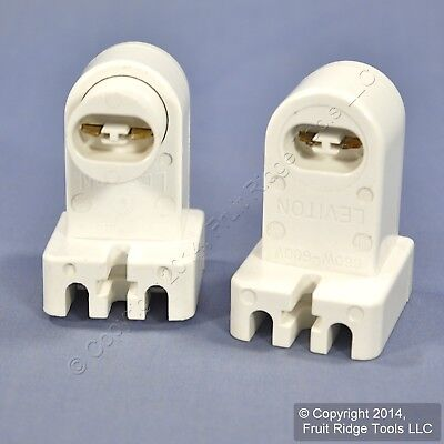 Leviton White HO T8 T12 Fluorescent Lamp Holder Light Socket 660W PAIR 464 + 465