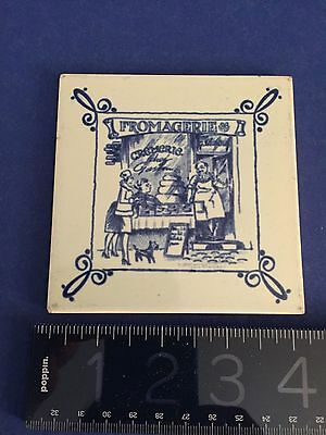 """Vintage Dutch Blue Ceramic Tile """"Fromagerie"""" French Cheese Shop """"TMM""""Holland"""