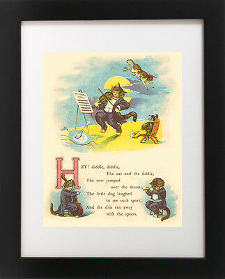 Antique Children's Nursery Rhyme Poem HEY DIDDLE DIDDLE Cat Fiddle Cow Art Print