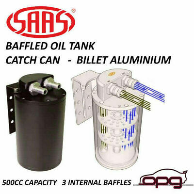 SAAS ST1003 Baffled Oil Catch Tank Can Black With 10mm & 14mm Fittings / Bracket