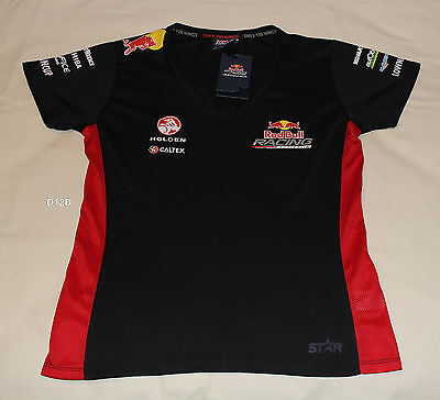 Red Bull Racing Holden Ladies Printed Short Sleeve V Neck T Shirt Size 14 New