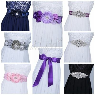 Flower Crystal Rhinestone Waistband Beaded Belt Wedding Bridal Dress Sash Ribbon
