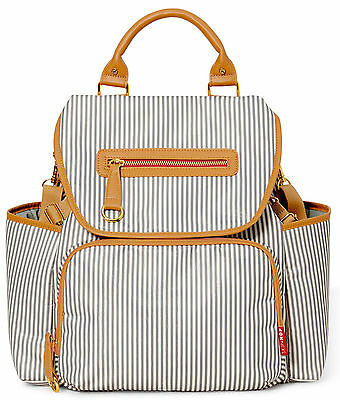 Skip Hop Grand Central Take-It-All Baby Diaper Bag w/ Changing Pad French Stripe