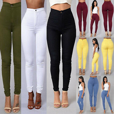 Women Skinny Pencil Pants High Waisted Stretchy Slim Fit Denim Jegging Trousers