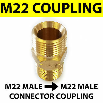 M22 male - M22 male Coupling connector BRASS Pressure Washer hose adapter