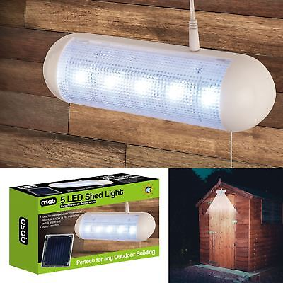 Solar Powered Shed Light Bright White 5 LED Water Resistant Rechargeable Outdoor