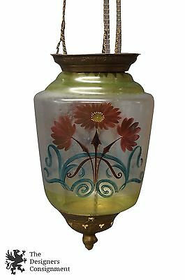 Art Deco Era Hand Painted Pendant Light Adjustable Lantern Salvage Re-Purpose