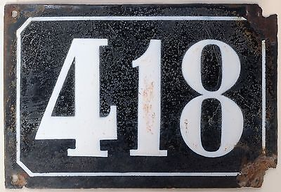 Large old black French house number 418 door gate plate plaque enamel metal sign