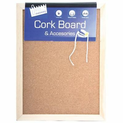 A4 Cork Messenger Board Pine Frame String Push Pins Office School Stationery