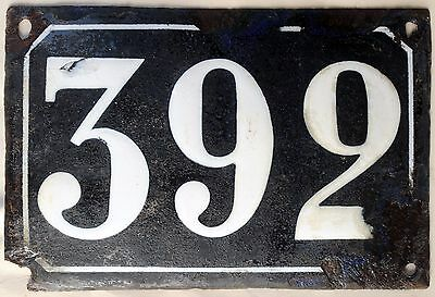 Large old black French house number 392 door gate plate plaque enamel metal sign