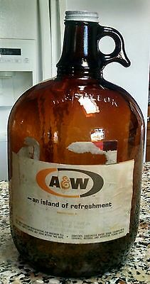 1960s Vintage A & W Root Beer Amber Brown One Gallon Glass Jug Double Labeled