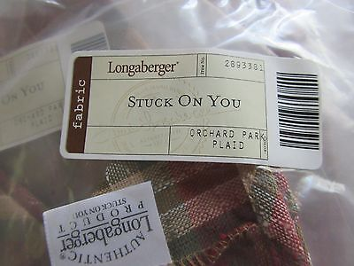 Longaberger Stuck on You Post it Note Basket Liner Orchard Park Plaid  Fabric
