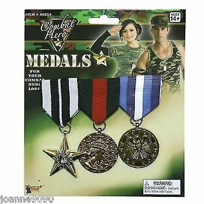 Military Army TA Medals Fancy Dress Costume Accessory GI Jo Soldier Navy RAF