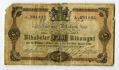 Sweden Sweriges Riksbank 5 Riksdaler 1873 P-A140 Very Scarce, VG Repaired