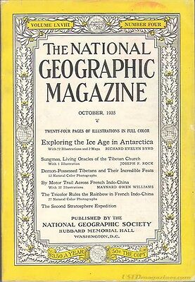 National Geograpic Oct1935 TIBET STRATOSPHERE INDO CHINA ANTARCTIC ICE AGE