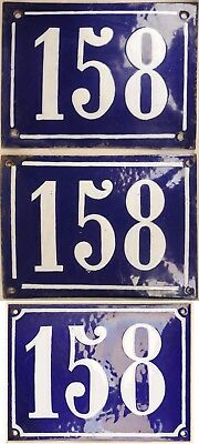 Old blue French house number 158 door gate wall fence street sign plate plaque