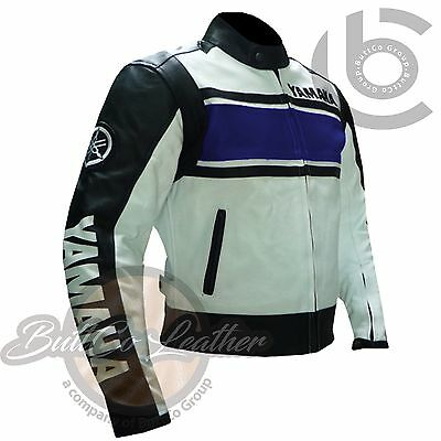 BIKER JACKET. BLUE YAMAHA 5241 Motorbike Biker Motorcycle Genuine Leather Coat