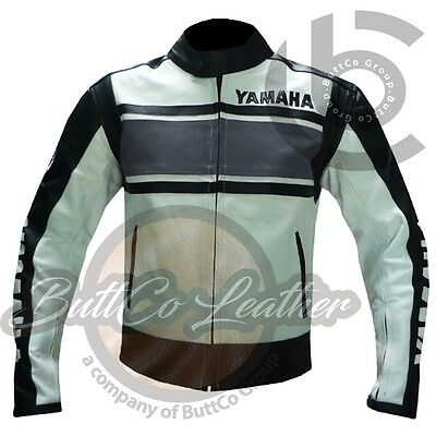 BIKER JACKETS Grey YAMAHA 5241 Genuine Leather Motorbike Motorcycle Armour Coat