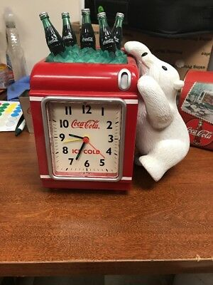 Coca Cola Clock/Bank with  5 CocaCola Bottles and Bear