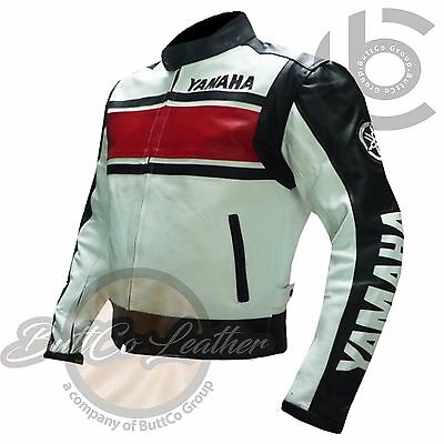 BIKERS JACKET Red Leather Coat for Motorbike Motorcycle Riders. YAMAHA 5241
