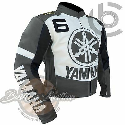 LEATHER MOTO JACKET. NEW YAMAHA 6 Armour Real GREY/WHITE Leather COAT for BIKERS