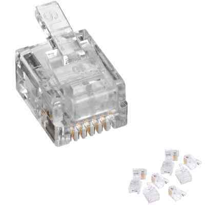 Pack of 10 RJ12 6 Position 6 Conductor Modular Plugs Phone ADSL Network 6P6C