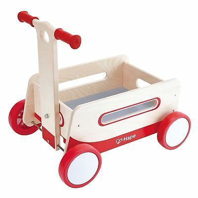 Hape Kids Classic Wooden Push and Pull Toddler Ride Red Wonder Wagon | E0375