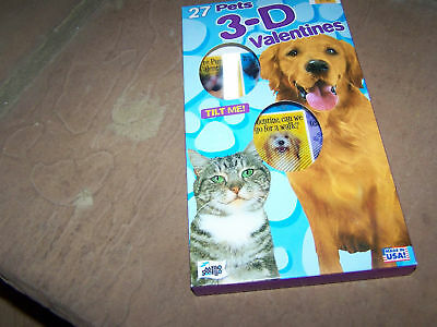 Box of 27 3D Pets Dog & Cat Valentines Day Cards Puppy New