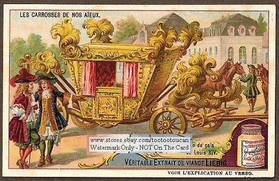 French King Louis 14th  Elegant Horse Carriage c1910 Trade Ad Card
