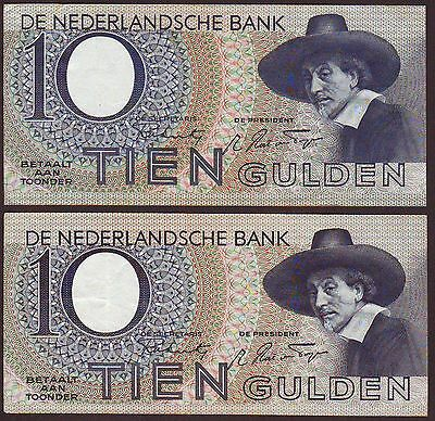 NETHERLANDS  10 Gulden  22.2.1944 & 23.2 1944