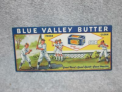 1934 BLUE VALLEY BUTTER Ink BLOTTER Trade Card Boys & Girls BASEBALL MiNt UNUSED